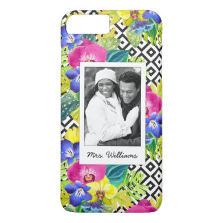 Orchid & Palm Leaves | Add Your Photo & Name iPhone 8 Plus/7 Plus Case