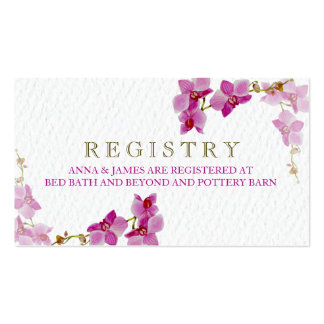Orchid Paradise Wedding Registry Card Pack Of Standard Business Cards
