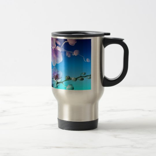 Orchid Pink Blue Sky Vine Customise Travel Mug