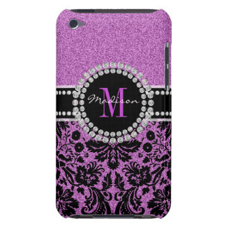 Orchid purple glitter Damask, Name and Monogram iPod Touch Cover