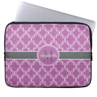 Orchid Purple Moroccan Trellis Monogram Laptop Sleeve