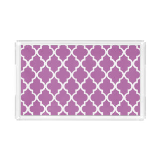 Orchid Purple Quatrefoil Tiles Pattern Acrylic Tray