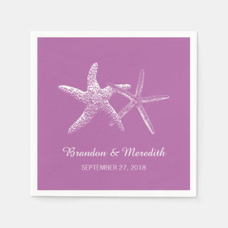 Orchid Purple Starfish Beach Wedding Napkins Disposable Napkin