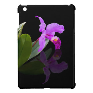 Orchid Reflected on Black Floral iPad Mini Cover