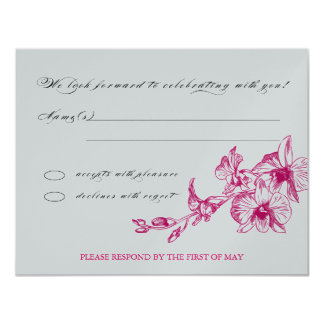 Orchid RSVP 11 Cm X 14 Cm Invitation Card