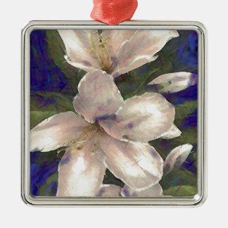 Orchid Silver-Colored Square Decoration
