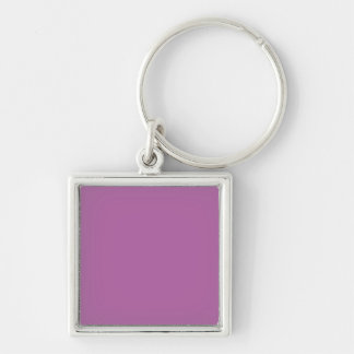 Orchid Solid Color Silver-Colored Square Key Ring