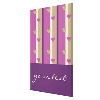 Orchid Tan Champagne Beige Purple Stripes Hearts Gallery Wrap Canvas