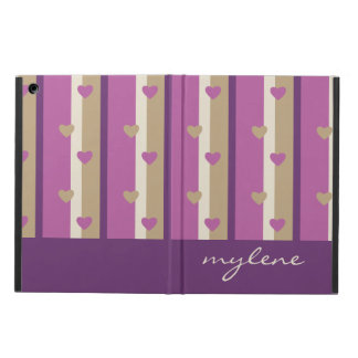Orchid Tan Champagne Beige Purple Stripes Hearts iPad Air Case