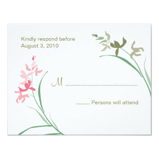 Orchid Wedding RSVP Cards  |  Guava and Clover 11 Cm X 14 Cm Invitation Card