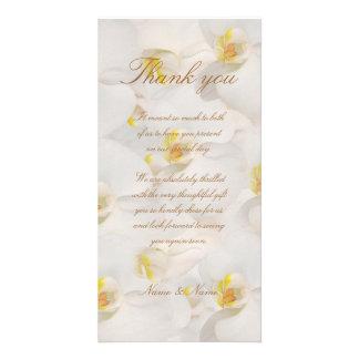 Orchid wedding thank you classy white custom photo card