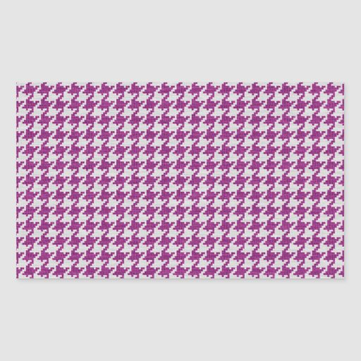 Orchid & White Knit Houndstooth Geometric Pattern Rectangle Stickers