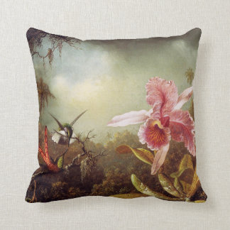 Orchid with Two Hummingbirds Pillow