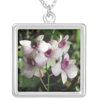 Orchideas necklace, choose style silver plated necklace