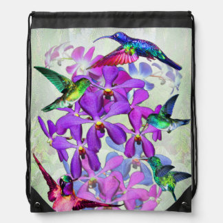 Orchids and hummingbirds rucksack