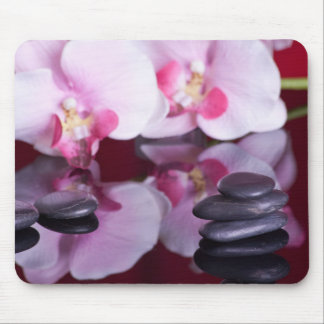 Orchids and Spa Stones Mousepad