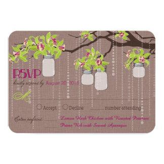 Orchids Branches Mason Jars RSVP Card 9 Cm X 13 Cm Invitation Card