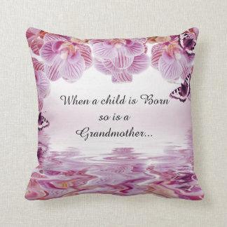 Orchids Butterflies Grandmother Quote Throw Pillow