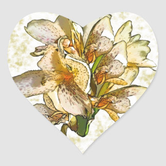 Orchids etched heart sticker