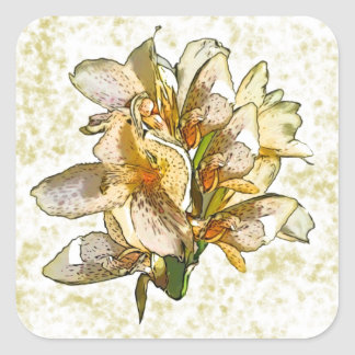 Orchids etched square stickers