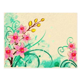 orchids grunge floral 3 postcards