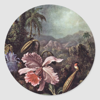Orchids Passion Flowers And Hummingbirds By Martin Round Stickers
