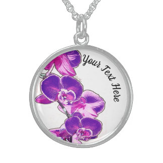 Orchids Personalized Sterling Silver Necklace