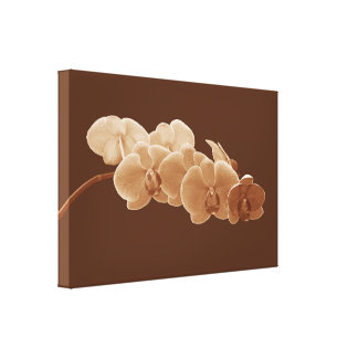 Orchids Photo to Paint in Sepia II Canvas Print