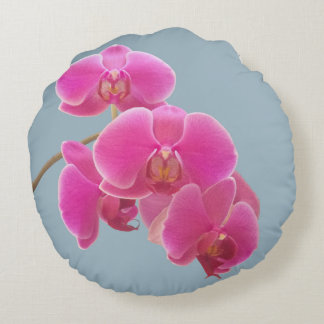 Orchids Photo to Paint on Blue Round Cushion