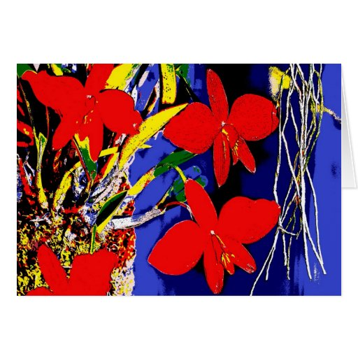 orchids popart, greeting card, card, text without,