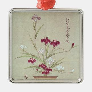 Orchids Silver-Colored Square Decoration