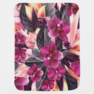 Orchids. Tropical design with beautiful flowers an Baby Blanket