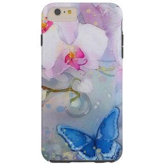 Orchids Watercolor White Lavender Blue Butterfly Tough iPhone 6 Plus Case