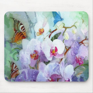 Orchids Watercolor White Pink Blue Tiger Butterfly Mouse Pad