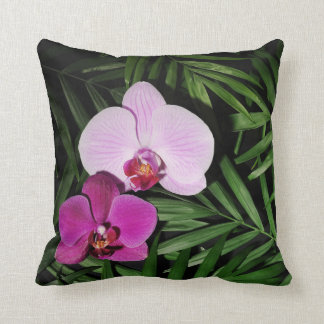 Orchids with palm leaves cushion