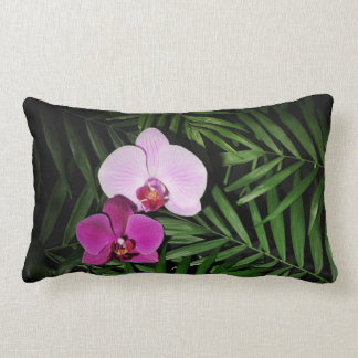 Orchids with palm leaves lumbar cushion