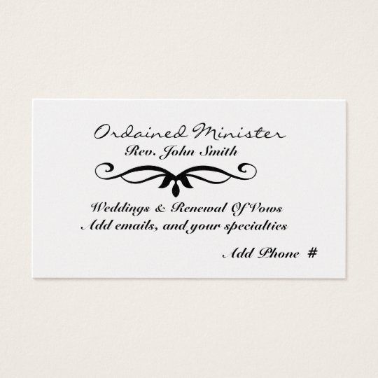 Ordained Minister's  Business Card