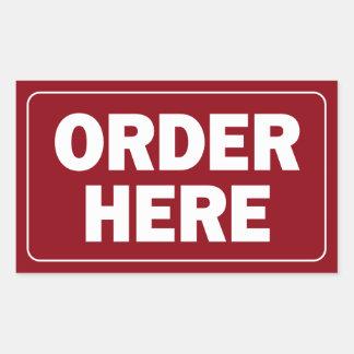 Order Here sign for restaurant or business Rectangular Sticker