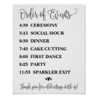 Order of Events Wedding Reception or Ceremony Sign