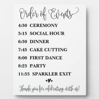 Order of Events Wedding Schedule Sign Plaque
