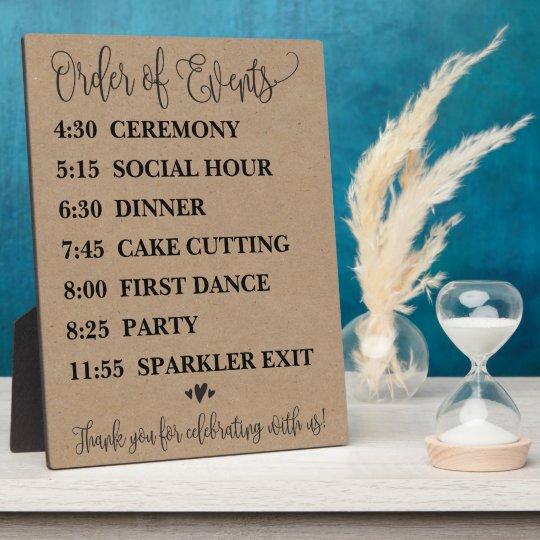 Order of Events Wedding Schedule Sign Plaque