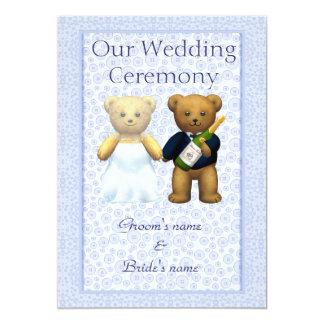 Order of Service Blue - Teddy Bears Wedding couple 13 Cm X 18 Cm Invitation Card