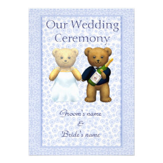 Order of Service Blue - Teddy Bears Wedding couple Announcements