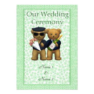 Order of Service - Gay Teddy Bears Wedding couple Custom Invitation