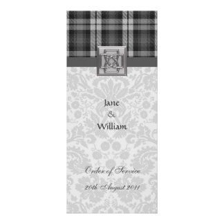 Order of Service Grey Watch Tartan and Damask Rack Cards