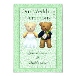 Order of Service  Teddy Bears Wedding couple Apple 13 Cm X 18 Cm Invitation Card