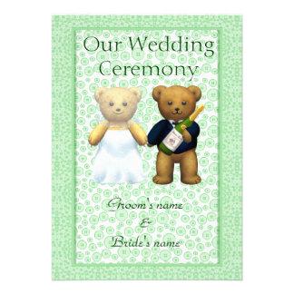 Order of Service Teddy Bears Wedding couple Apple Custom Invitations