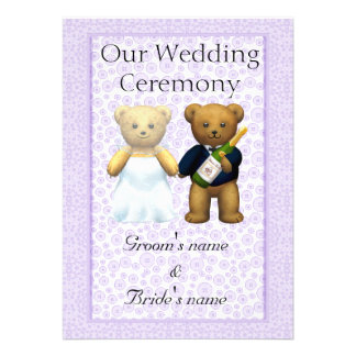 Order of Service - Teddy Bears Wedding couple Custom Invite