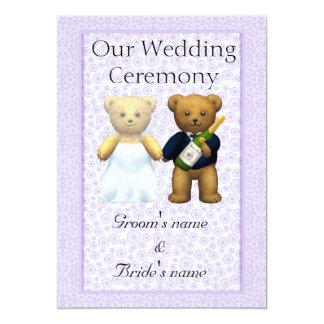 "Order of Service - Teddy Bears Wedding couple 5"" X 7"" Invitation Card"