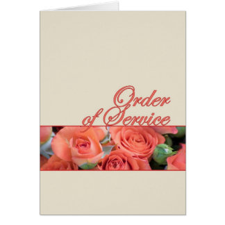 Order Of Service Wedding Card Roses Peach & Cream
